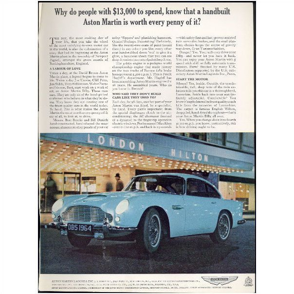 1964 Aston Martin Automobile Magazine Advertisement On