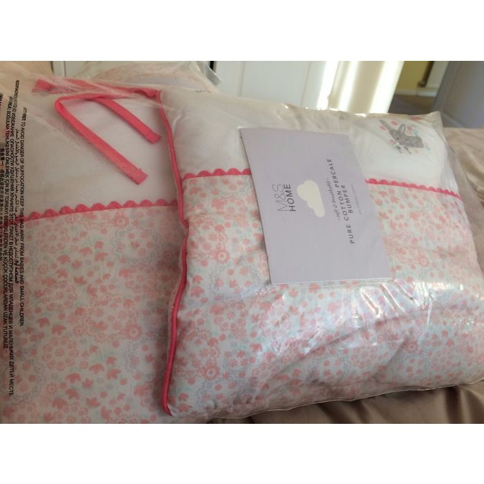 Cot Bumper In Packet New M/&S Cotton 200 Thread Percale Pink Soft Breathable