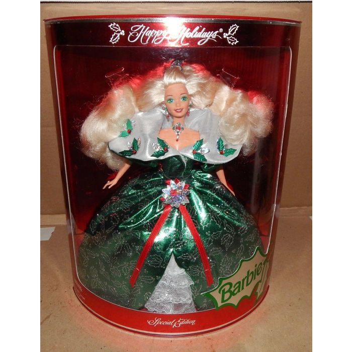 1995 Happy Holidays Barbie Doll Special Edition Green Dress NIB 14123