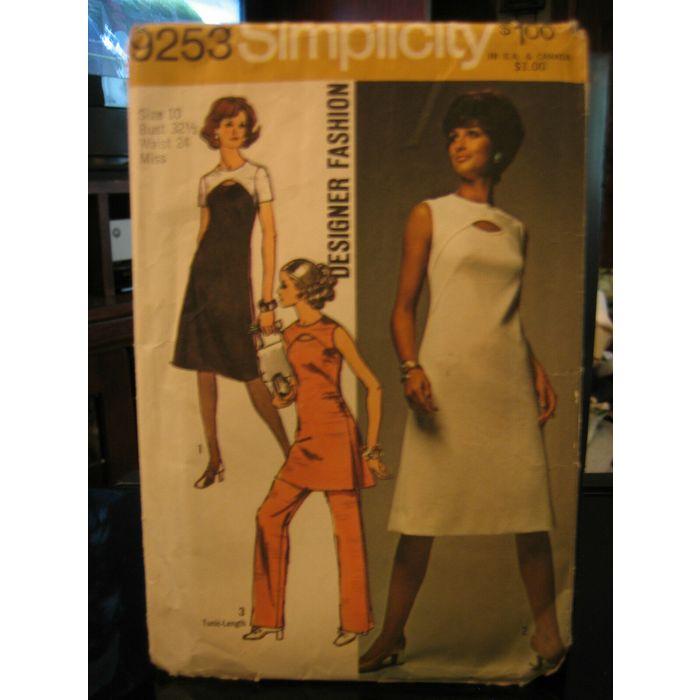 Vintage Simplicity Designer Fashion 9253 Misses Dress Tunic Pants Pattern Sz 10 On Ebid Ireland 182929325