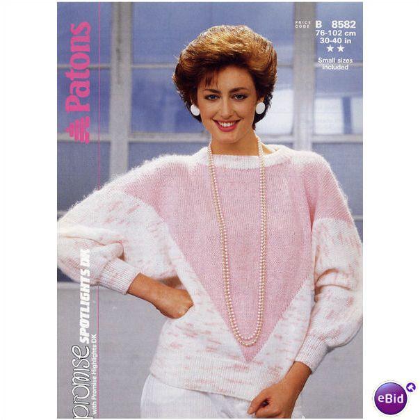 Ladies sweater / jumper double knitting pattern womens DK ...