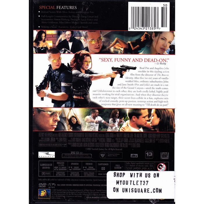 Mr And Mrs Smith Dvd 2005 Very Good 024543213857 On Ebid United States 166650996