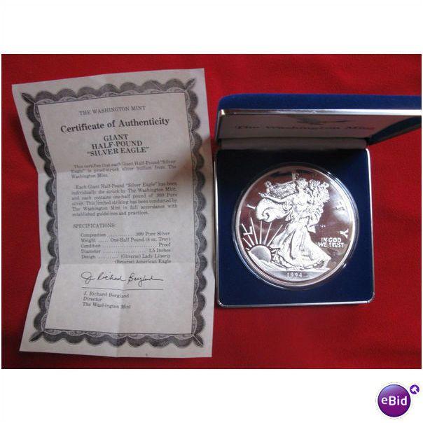 1994 Giant Half Pound 8 Oz Troy Proof 999 Silver Eagle Washington Mint On Ebid United States 112099884