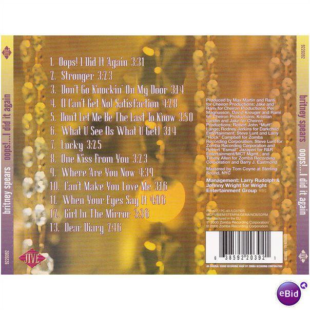 Britney Spears Oops I Did It Again E U Jive Pressing Cd 638592203921 On Ebid New Zealand 72202819
