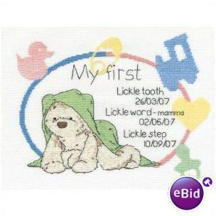 Lickle Ted Precious Lickle Moments Birth Sampler Cross Stitch Kit DMC