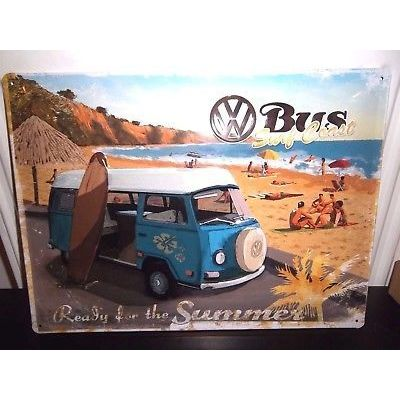 "VW CAMPER// BUS METAL SIGN// PERPETUAL CALENDAR  16x12/"" 40x30cm BORN TO SURF"
