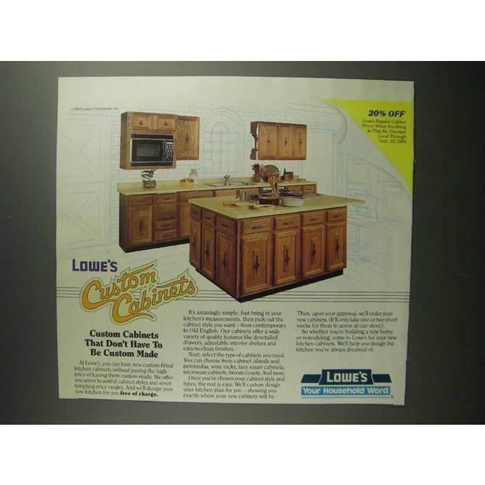 1984 Lowe\'s Custom Kitchen Cabinets Ad on eBid United Kingdom   159315613
