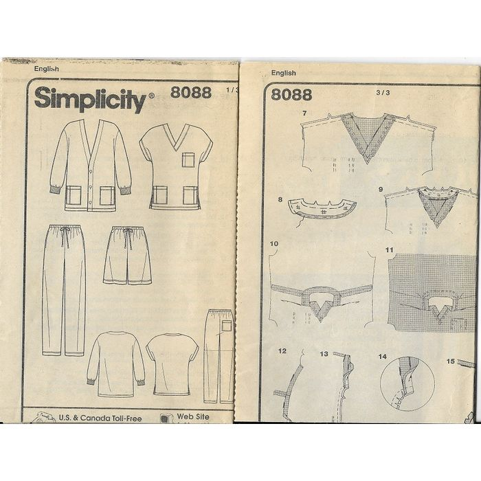 Simplicity 8088 Unisex Scrubs   Sewing Pattern