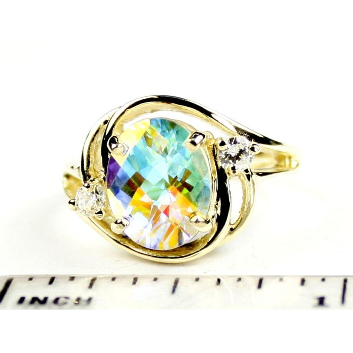 Silver Topaz 10KY Gold Ring R021