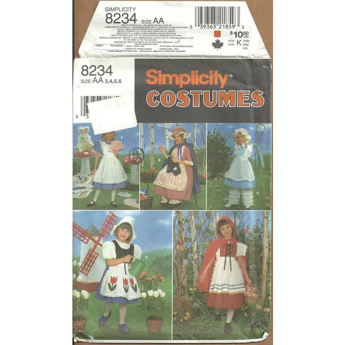 Simplicity 8234 ALICE Red RIDING HOOD BO PEEP DUTCH GIRL Pattern 3-6