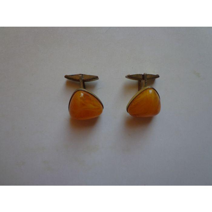 Soviet Vintage Amber Cufflinks Made in USSR in 1970s
