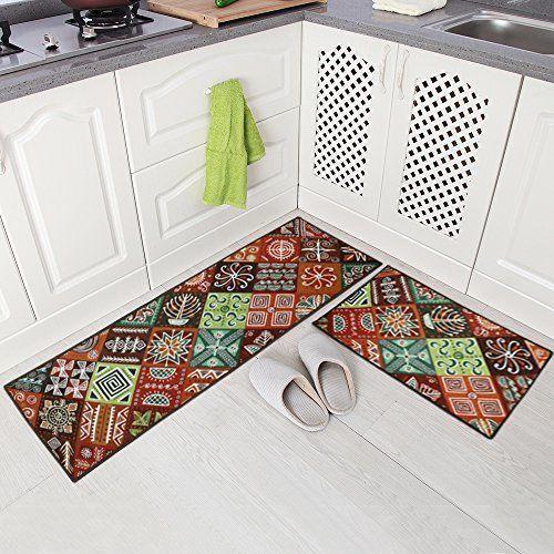 Carvapet 2 Piece Non-Slip Kitchen Mat Runner Rug Set Doormat Vintage Design  713893360655 on eBid United States   182385093