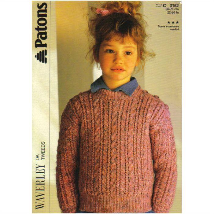 Knitting Pattern - Patons 3162 - Child's Double Knit Crew ...