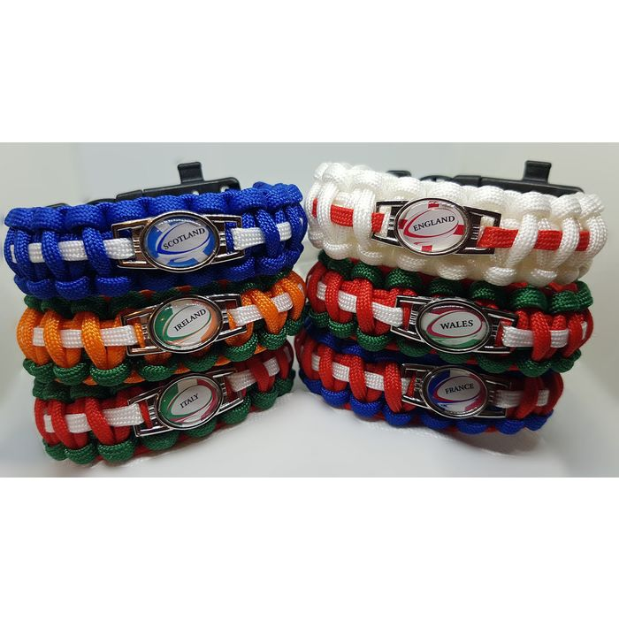 6 Nations France Ireland BADGED Survival Bracelet by Tactical EDGE.