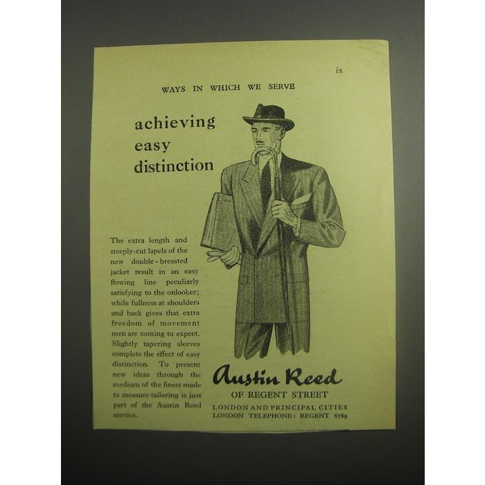 1948 Austin Reed Double Breasted Jacket Ad Achieving Easy Distinction On Ebid United States 176912950