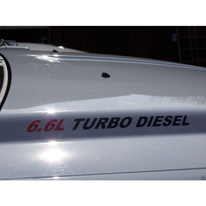 6.6L TURBO DIESEL Vinyl DURAMAX HOOD Decal Sticker Truck set of 2