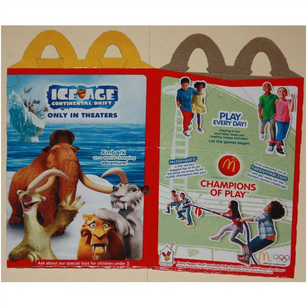 2012 Mcdonalds Ice Age Continental Drift Happy Meal Box On Ebid United States 95222962