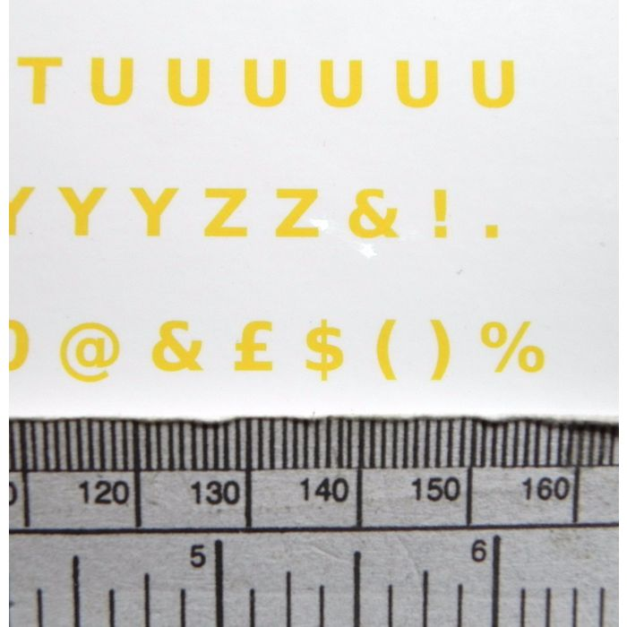 """3//16/"""" Letter /& number water-slide transfers 5 mm yellow 128 characters"""