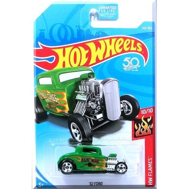 Hot Wheels 2018 #246//365 1932 FORD green HW Flames Long Card