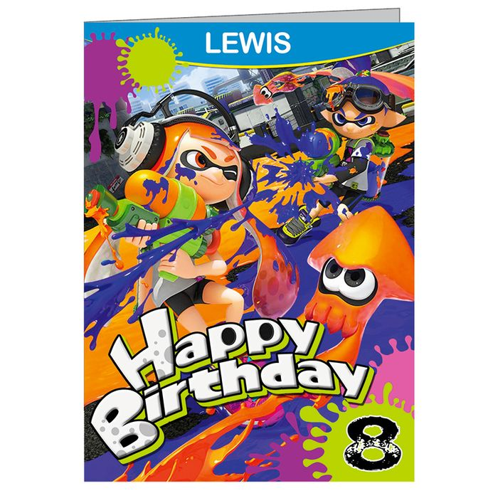 Splatoon Birthday card with envelope 01 personalised any name or relation