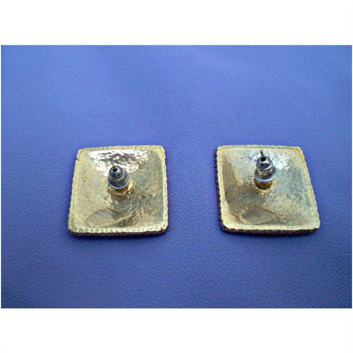 Navy Blue and Cream enamel earrings