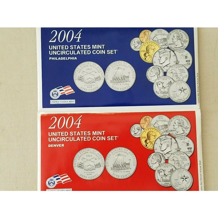 22 Coin Uncirculated Set with CoA Uncirculated Mint 2004 P 2004 U.S