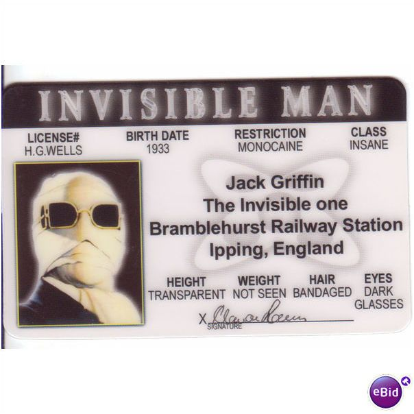 Claude Rains Universal Monsters The Invisible Man Id For Your Halloween Costume On Ebid United States 64106518