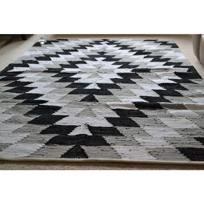 Cotton Rug Black White Grey Handmade