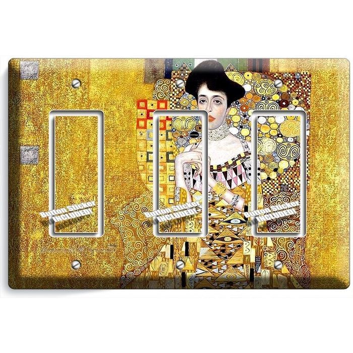 electrical wall plate covers decorative electrical wall.htm gustav klimt adele bloch gold painting triple gfci light switch  gustav klimt adele bloch gold painting