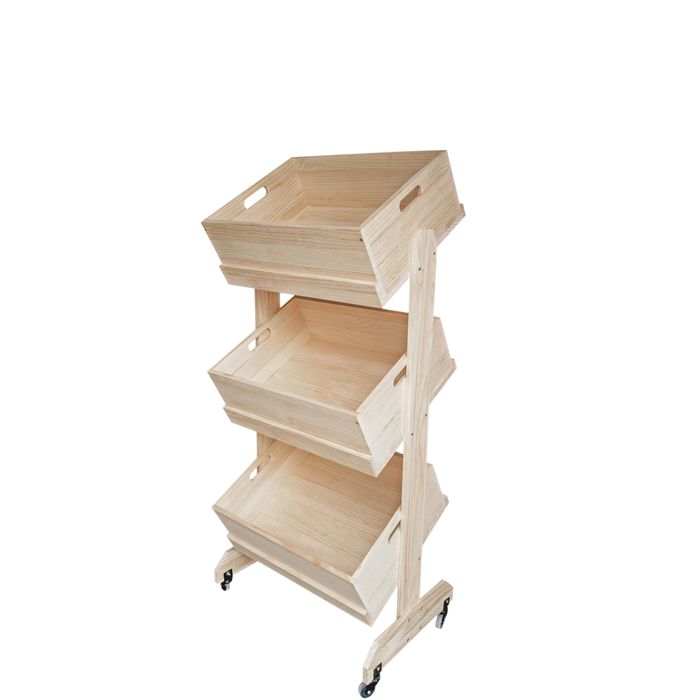 Basket Stand Produce Wood Crate Display