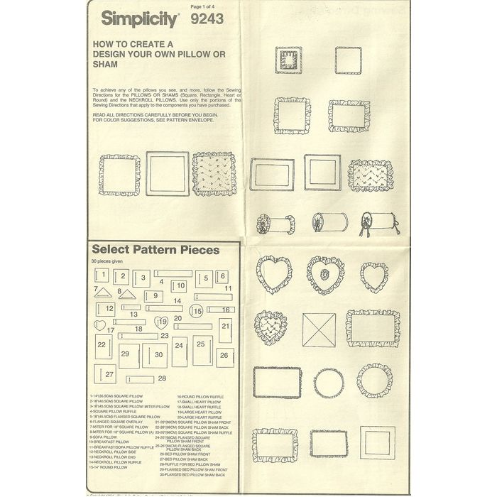 "18/"" Pillows Round Square 9243 UNCUT Vintage Simplicity SEWING Pattern 14/"""