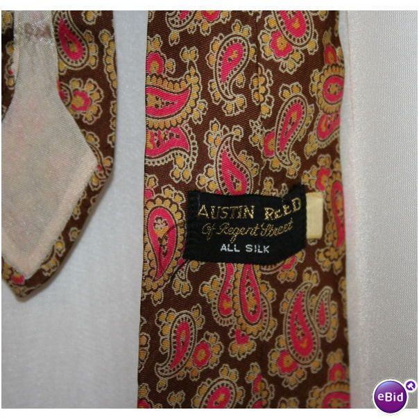 Mens Vintage 1970 Brown Gold Pink Paisley Tie Austin Reed On Ebid Ireland 188772592