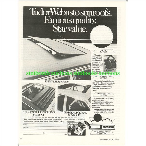 1980 Tudor Webasto Sun Roof Sunroof Original Magazine Advert Ad 2026 On Ebid United Kingdom 89217272