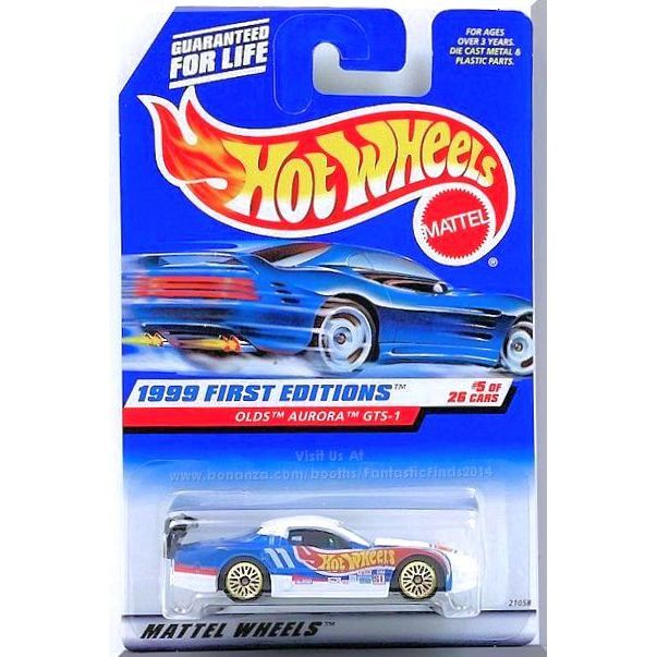 Hot Wheels Olds Aurora GTS-1 Silver Black Interior Clear Windows Malaysia 1999