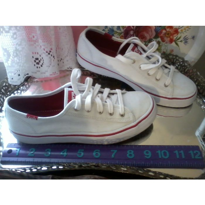 Keds white canvas red accents NOS US