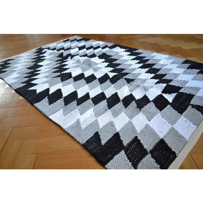 Large Cotton Rug Black White Grey