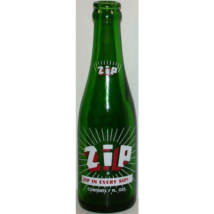 Vintage soda pop bottle ZIP 1969 Zip in Every Sip slogan new old stock n-mint+