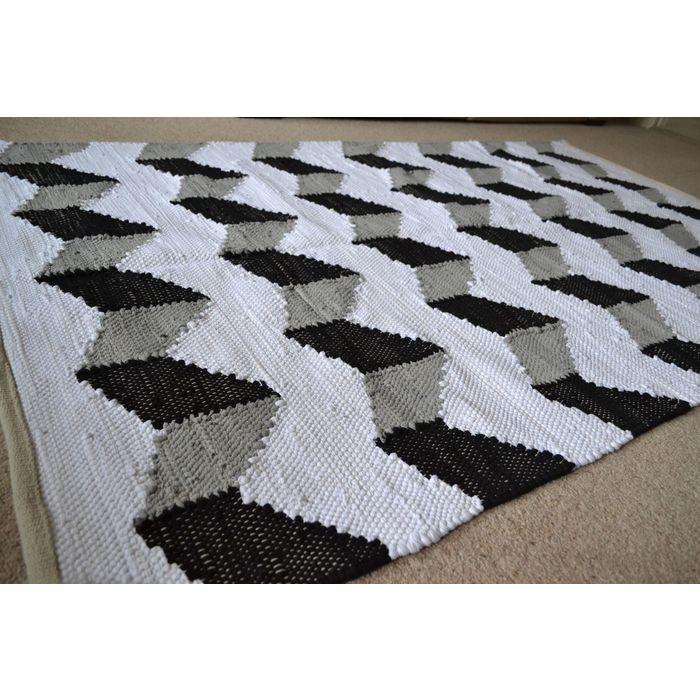 Large Cotton Rug Pattern Black White