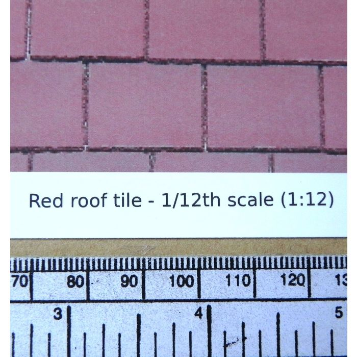 1//12th dolls house red roof tile self adhesive vinyl A4 sheet 297x210 mm