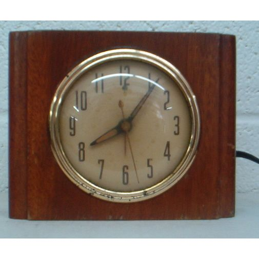 Vintage Wooden Ge Desk Clock Art Deco Style On Ebid United States 150986210