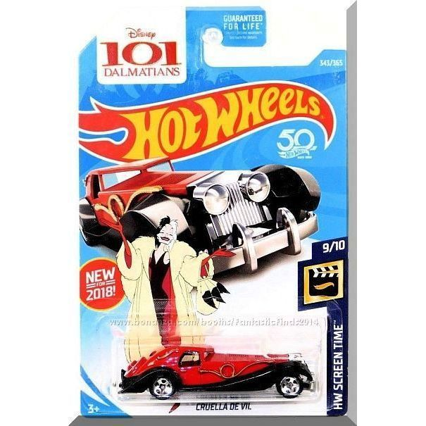 2018 Screen Time 9//10 Diecast Car HOTWHEELS 101 DALMATIONS Cruella de Vil