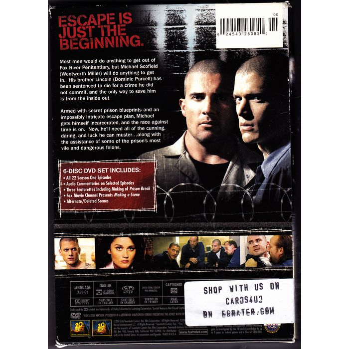 Prison Break Complete 1st Season Dvd 2009 6 Disc Set Very Good 024543260820 On Ebid United States 181435140