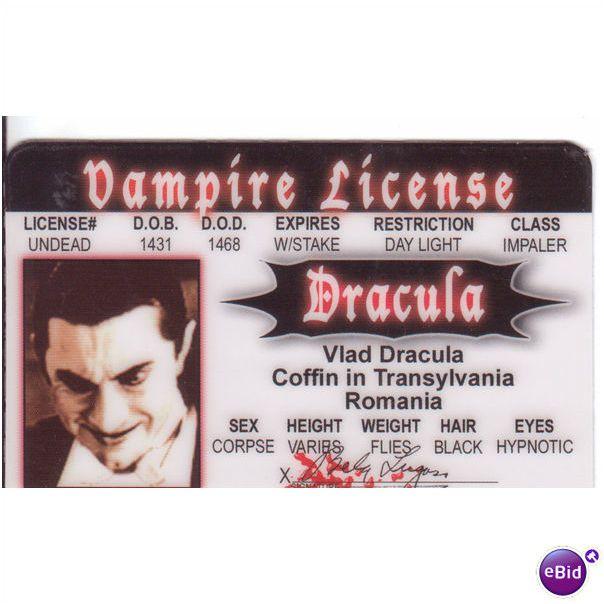 Bela Lugosi Universal Monsters Dracula Drivers License For Yr Halloween Costume On Ebid United States 64093770