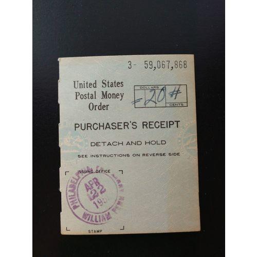 Blue April 22 1955 Us Postal Money Order Purchaser S Receipt Philadelphia Pa On Ebid United States 185183701