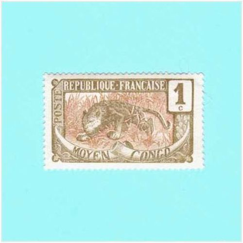 1907 Middle Congo Animal Stamp Leopard 1 Centime Scott 1