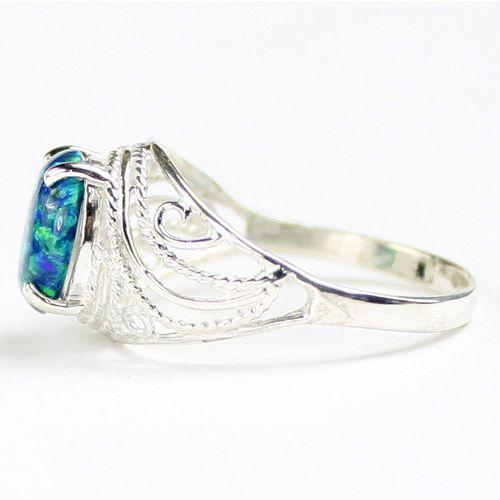 SR083 925 Sterling Silver Ladies Ring Green Amethyst
