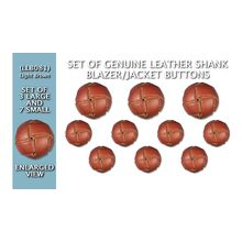 S0022-C19 Set of Synthetic//Nylon Imitation Leather Shank Blazer Buttons 3 Large /& 7 Small Brown