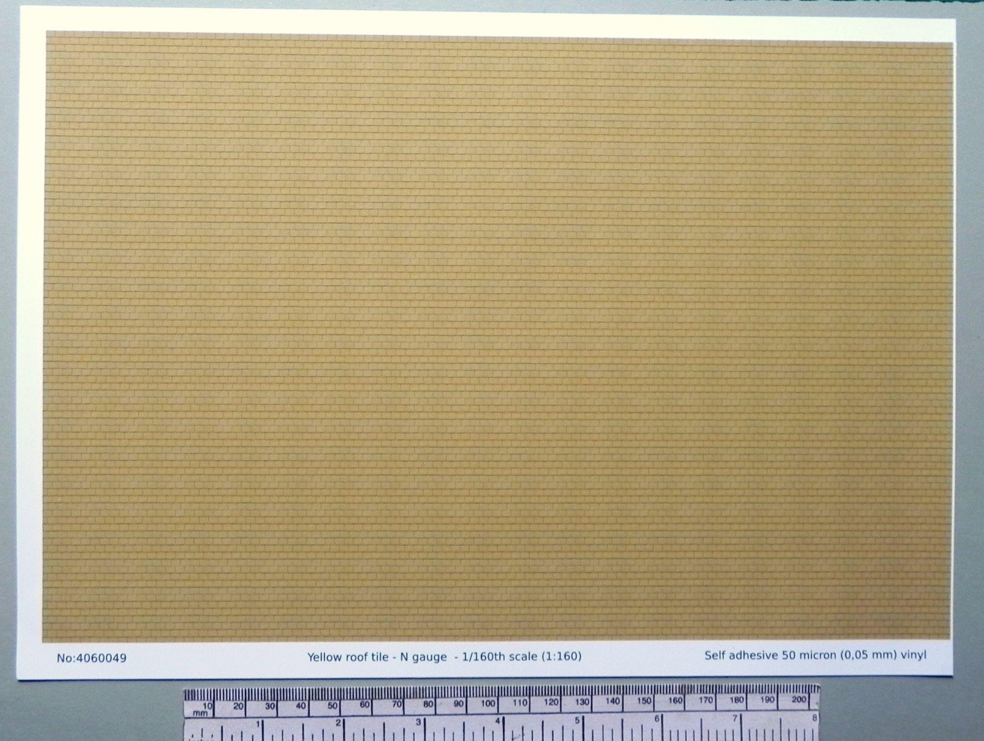 N Gauge 1 160 Scale Yellow Roof Tile Self Adhesive Vinyl