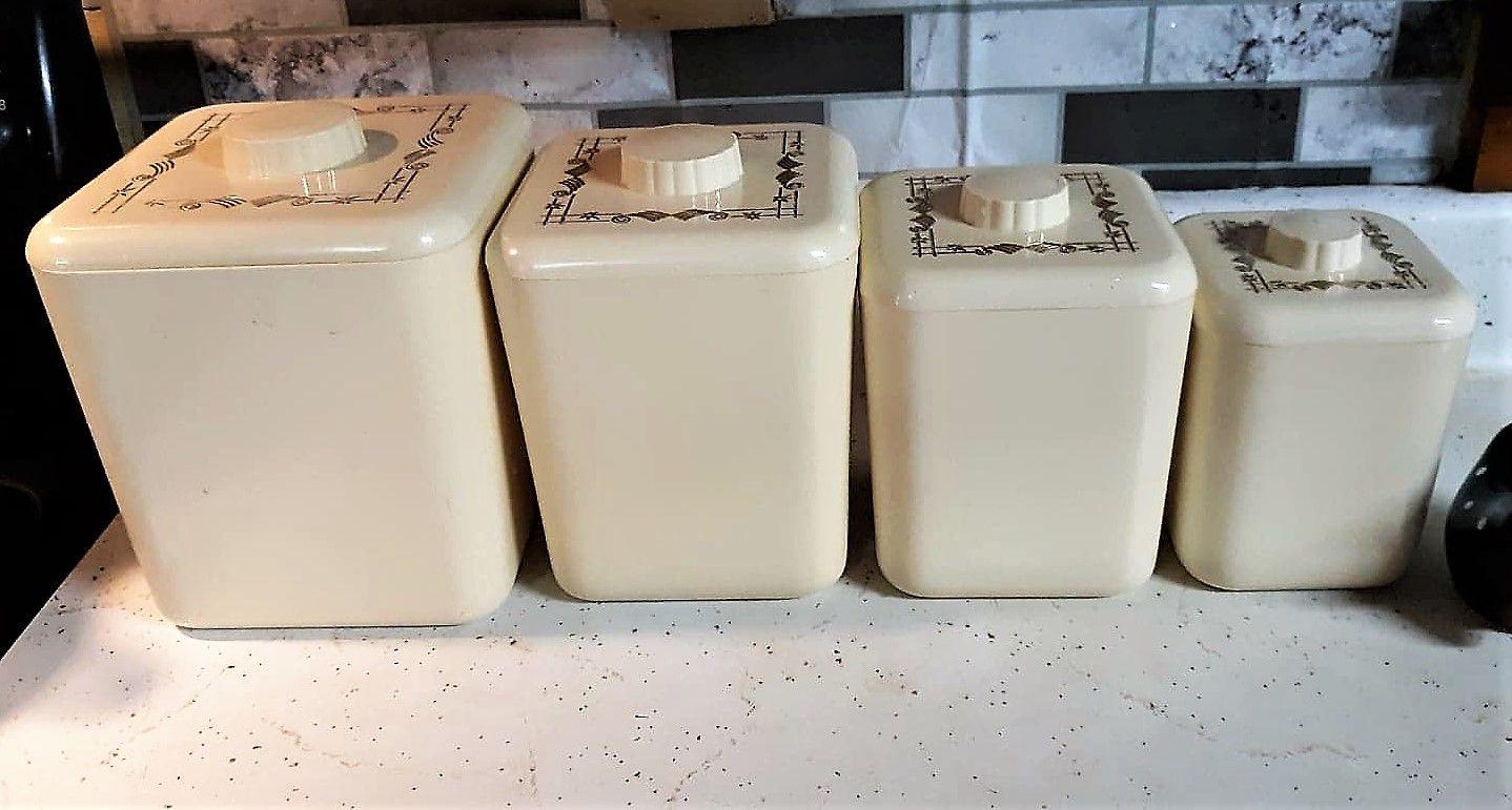 Vintage Plastic Kitchen Canister Set Off White Ivory Color