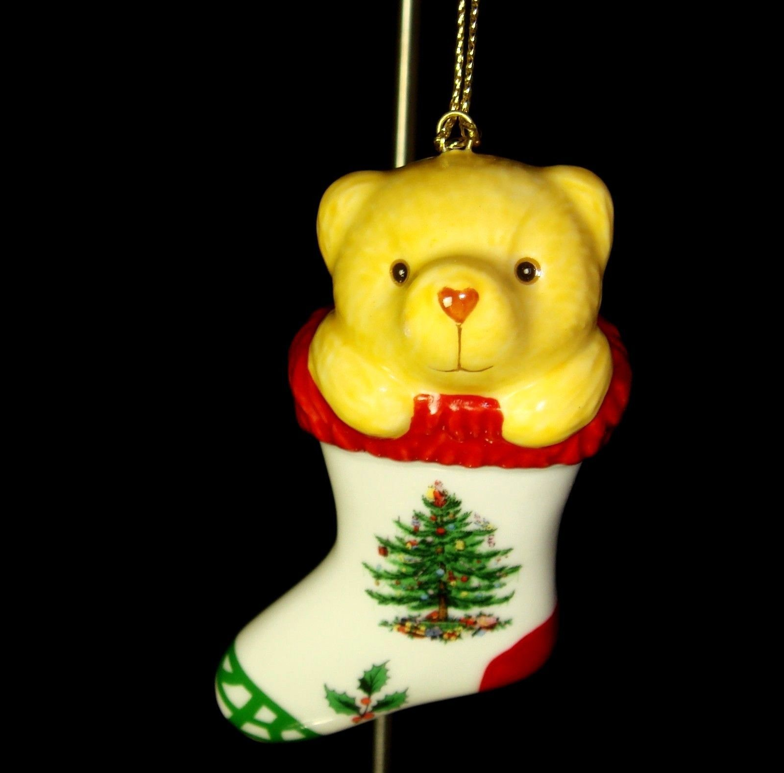 Spode Christmas Tree Sale: SPODE Christmas Tree TEDDY BEAR In STOCKING Ornament NEW